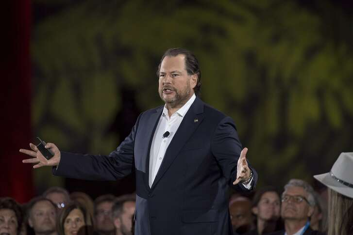 Marc Benioff, chairman and co-chief executive officer of Salesforce.com Inc., speaks during the opening keynote at the DreamForce conference in San Francisco, California, U.S., on Tuesday, Sept. 25, 2018. Benioff�touted his company as an example of corporate responsibility while once again wading into Facebook Inc.'s troubles. Photographer: David Paul Morris/Bloomberg