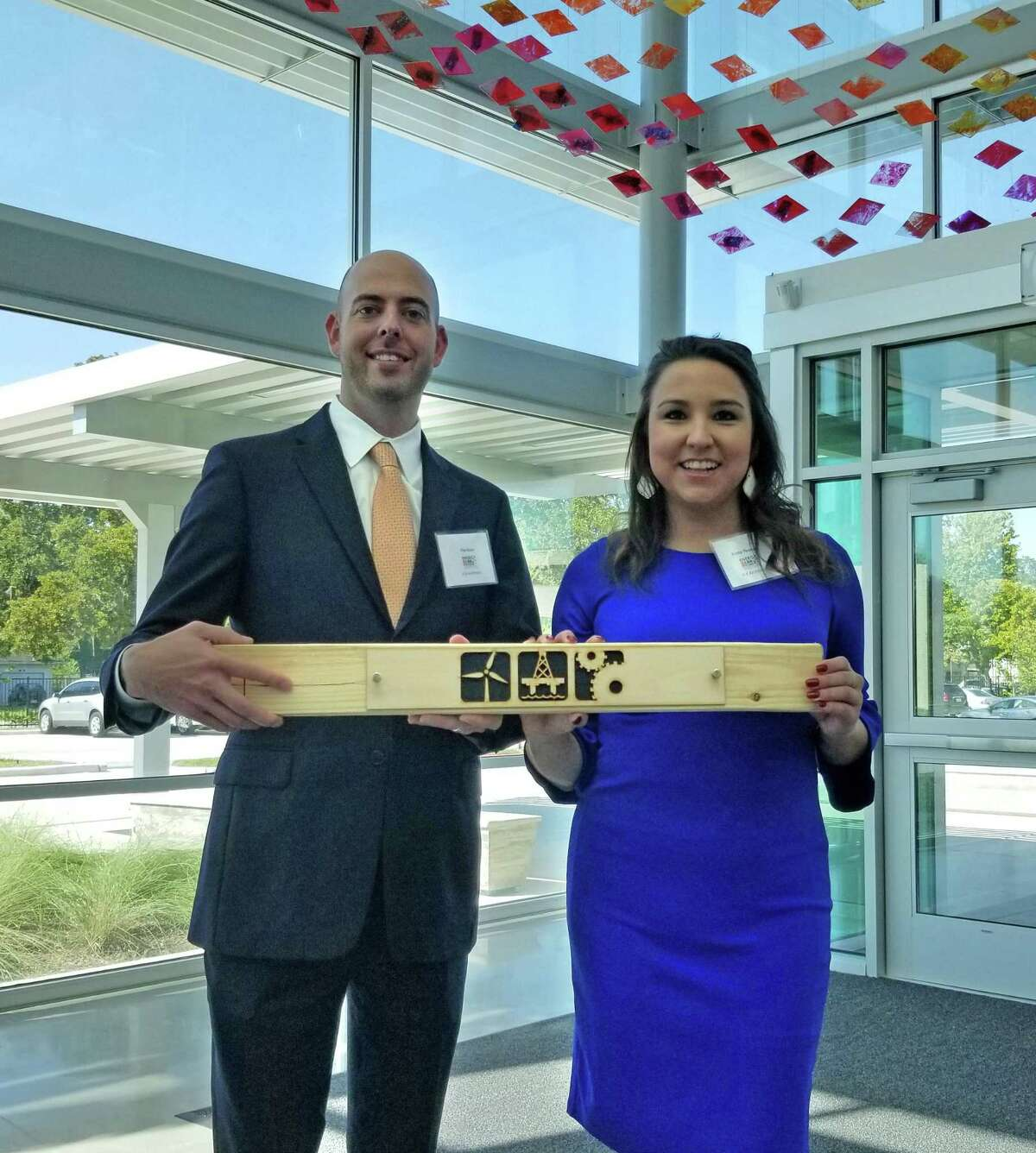 Tim Kunz and Krista Thomas of VLK Architects were among those in attendance at the Sept. 19, 2018, dedication ceremony the new Houston ISD Energy Institute High School.