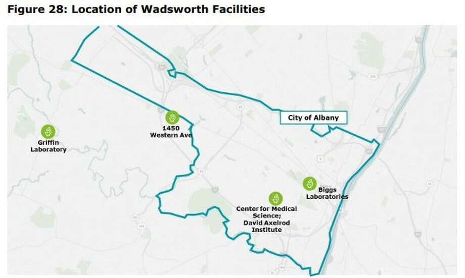 The Department of Health's Wadsworth Center operates out of five different locations that provide it with 910,000-square-feet of space. The state wants to build a new centralized, $750 million campus either in Albany or Renssealer County. Photo: Deloitte