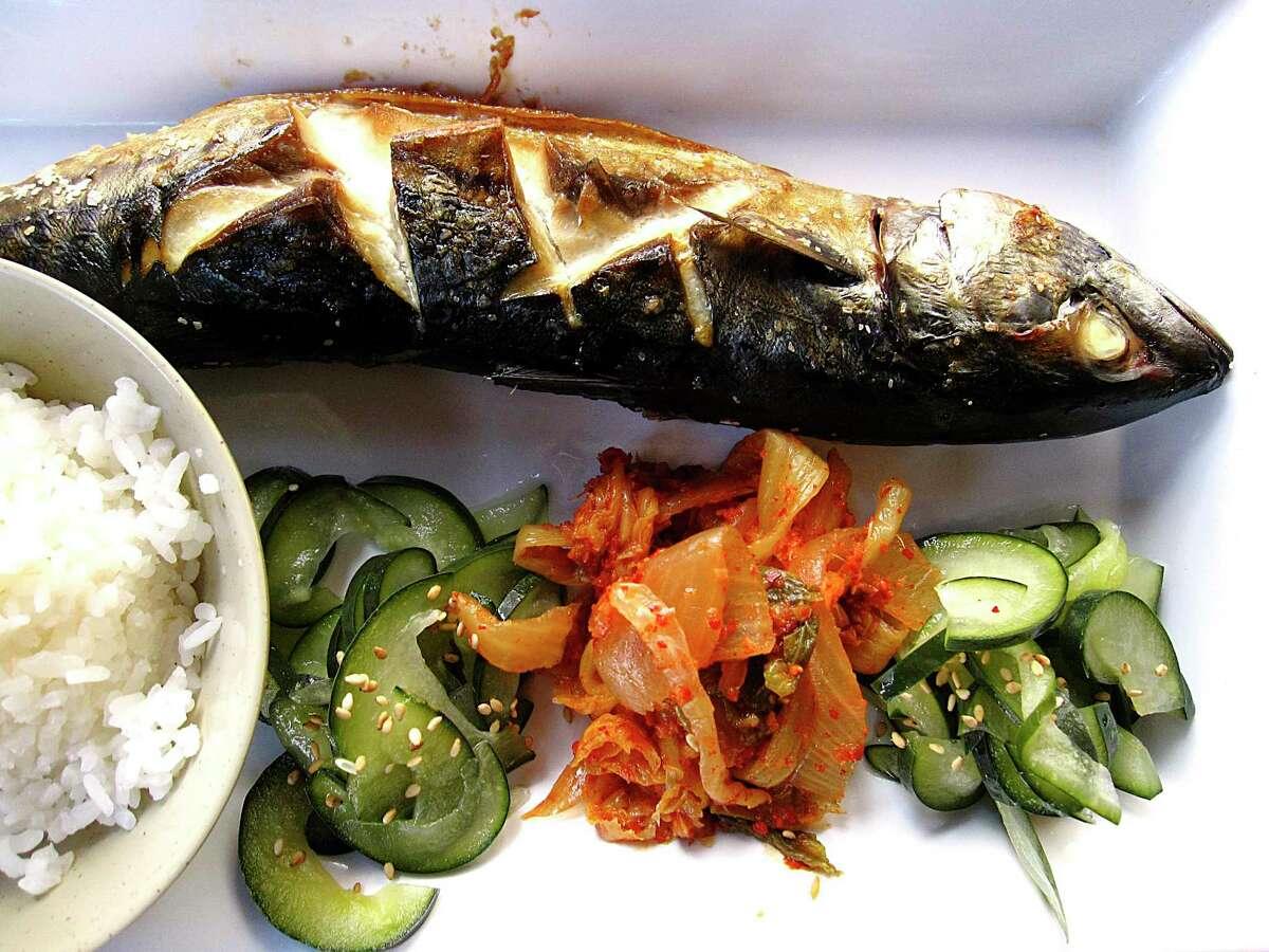 Broiled mackerel (saba) with rice, cucumber sunomono and kimchi from Kimura