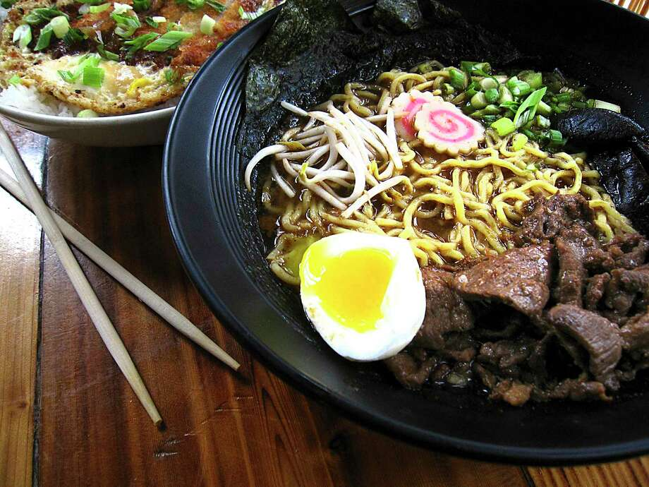 Pork katsu donburi bowl, left, and miso ramen with beef, pickled mushrooms, green onions, fish cakes, sprouts and boiled egg from Kimura Photo: Mike Sutter /Staff File Photo