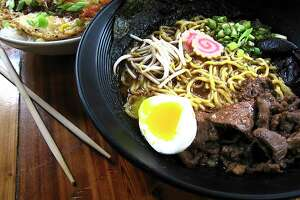 Pork katsu donburi bowl, left, and miso ramen with beef, pickled mushrooms, green onions, fish cakes, sprouts and boiled egg from Kimura. The Japanese ramen shop is opening its expansion, Ramen Bar at Freight, on Saturday.