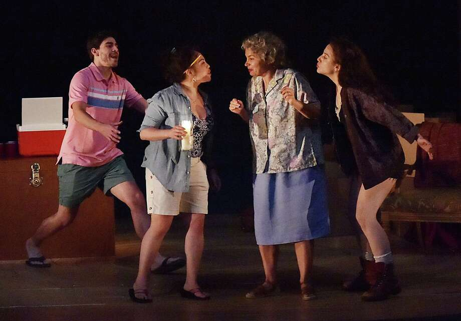 "From left, Arturo Soria, Maria-Christina Oliveras, Adriana Sevahn Nichols, Adriana Sevahn Nichols and Irene Sofia Lucio star in ""El Huracan."" Photo: Catherine Avalone / Hearst Connecticut Media / New Haven Register"