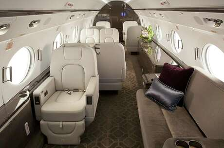 The Gulfstream G550 is a jetsetter's dream plane. It seats 15 and can fly from New York to Tokyo in 14 hours without stopping for fuel. It's unique wide oval windows make this jet easy to spot on runways. It sells for about $50 million. Photo: PrivateFly.com