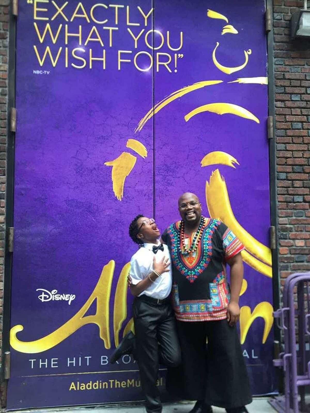 "Ajibola 'Keeme' Tajudeen did a ""Konversations with Keeme"" video interview with Juwan Alan Crowley of the Broadway musical ""Aladdin."""