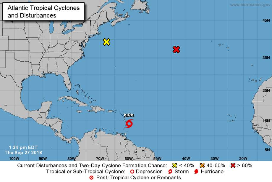 Forecasters say Tropical Storm Kirk is on a path to dump heavy rains that could bring dangerous flooding to the eastern Caribbean. Photo: National Hurricane Center/NOAA