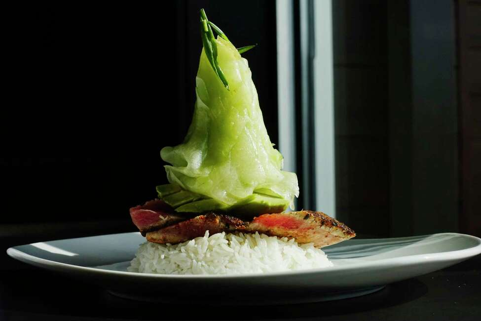 A view of the 110 cucumber and avocado tuna dish at 110 Grill at Crossgates Mall on Thursday, Sept. 20, 2018, in Guilderland, N.Y. (Paul Buckowski/Times Union)