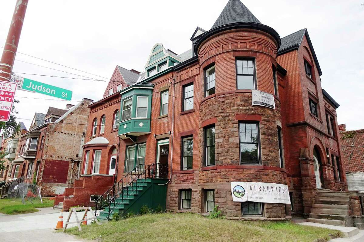 A view of the home at 2 Judson Street on Thursday, Sept. 27, 2018, in Albany, N.Y. This property is being rehabbed by the Albany County Land Bank, which will then sell it. Click through the slideshow to see before and after photos of the project.