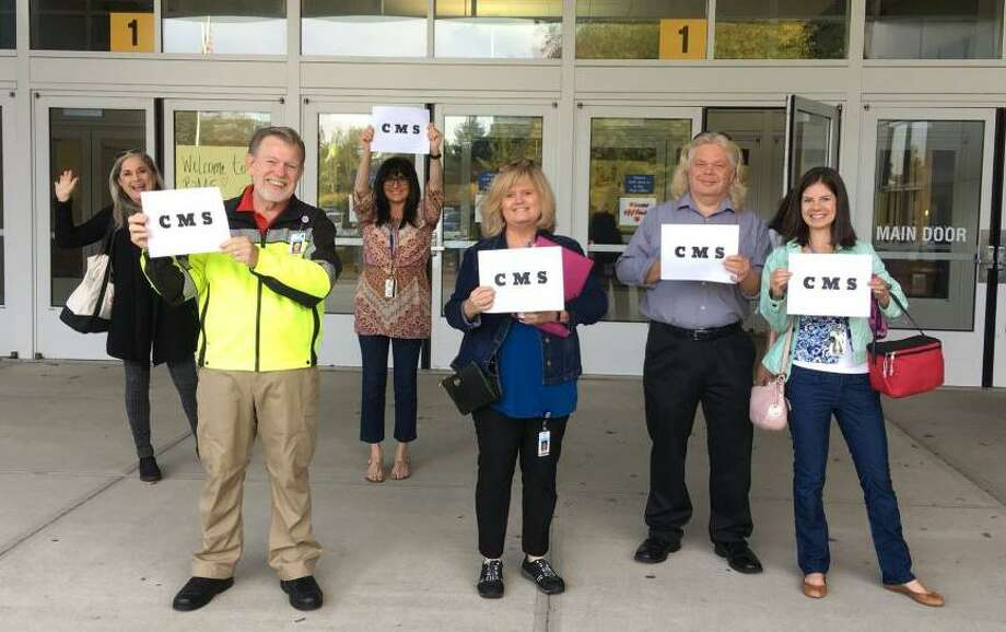 Westport Superintendent Colleen Palmer posted a photo on her Twitter page of Coleytown Middle School faculty and staff welcoming Coleytown students to their relocated campus at Bedford Middle School on Sept. 24. Photo: Contributed / Contributed Photo / Westport News contributed