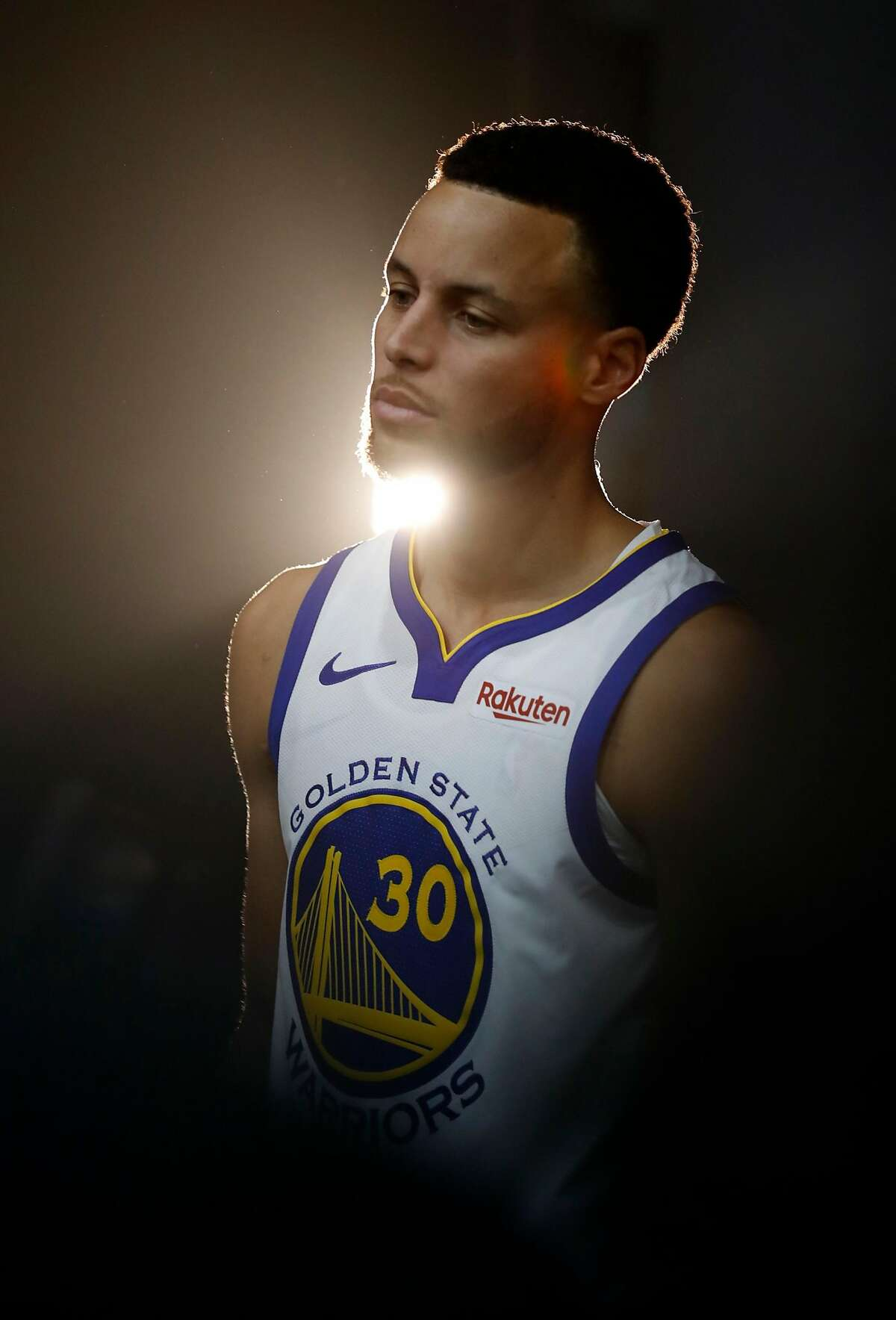 Stephen Curry during Golden State Warriors' Media Day in Oakland, Calif. on Monday, September 24, 2018.