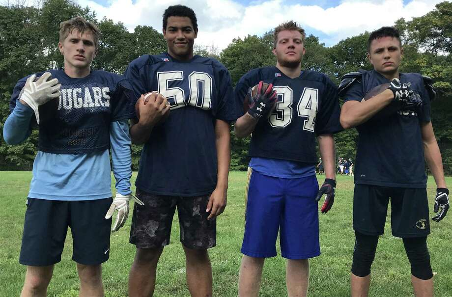 From the left, Dalton Brown, Tobey Callender, Zach Kauffman and Dalton Modehn make up the talented backfield for Haddam-Killingworth. (Pete Paguaga, Hearst Connecticut Media)