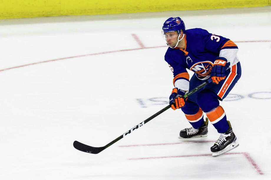 Islanders Winger Mike Sislo skates against the Rangers during a preseason game on Sept. 22 at Webster Bank Arena in Bridgeport. Photo: David Hahn / Icon Sportswire Via Getty Images / ©Icon Sportswire (A Division of XML Team Solutions) All Rights Reserved ©Icon Sportswire (A Division of XML Team Solutions) All