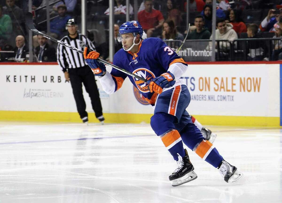 Islanders Winger Mike Sislo skates against the Rangers during a preseason game on Sept. 22 at Webster Bank Arena in Bridgeport.