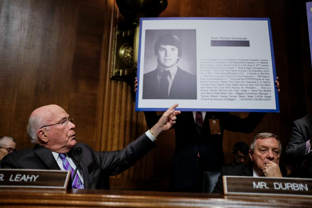 Senator Patrick Leahy points to a yearbook page from Brett Kavanaugh's yearbook. Judge Brett M. Kavanaugh testified in front of the Senate Judiciary committee regarding sexual assault allegations at the Dirksen Senate Office Building on Capitol Hill Thursday, September 27, 2018.