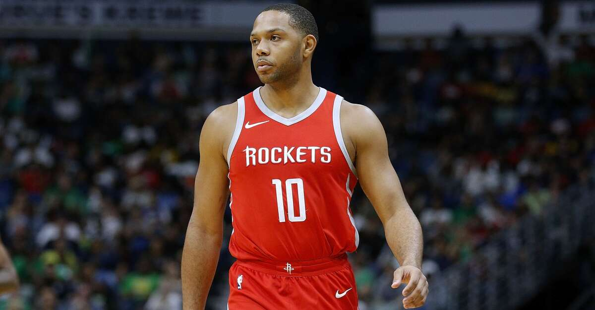 PHOTOS: Rockets open practice NEW ORLEANS, LA - MARCH 17: Eric Gordon #10 of the Houston Rockets reacts during the second half against the New Orleans Pelicans at the Smoothie King Center on March 17, 2018 in New Orleans, Louisiana. (Photo by Jonathan Bachman/Getty Images) >>>See photos of the Rockets' open practice on Friday, Oct. 5, 2018 ...