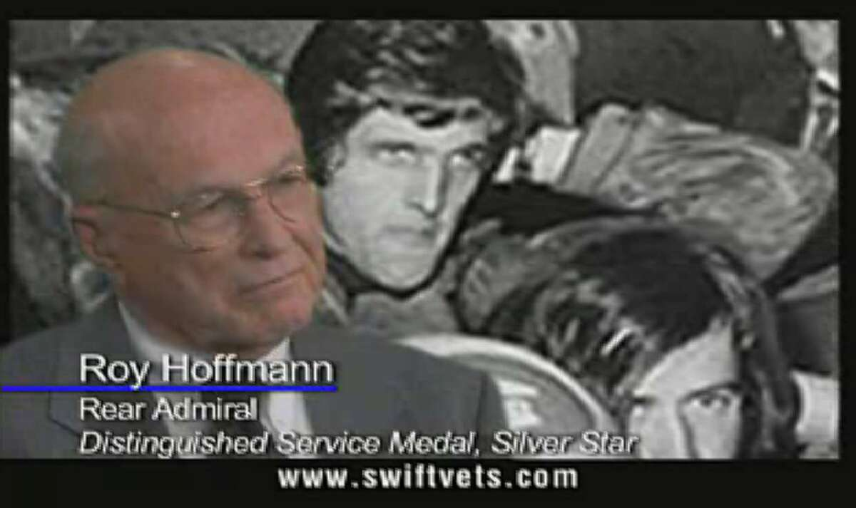 Retired Adm. Roy Hoffmann, head of the Swift Boat group, is seen in an anti-John Kerry ad released Thursday, Aug. 5, 2004.