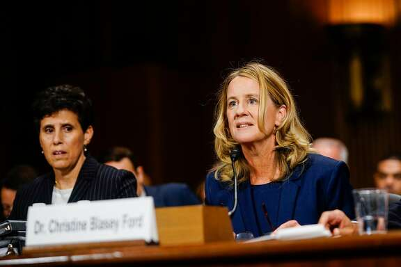 WASHINGTON, DC - SEPTEMBER 27: Christine Blasey Ford, with lawyer Debra S. Katz, left, answers questions at a Senate Judiciary Committee hearing on Thursday, September 27, 2018 on Capitol Hill. (Photo by Melina Mara-Pool/Getty Images)