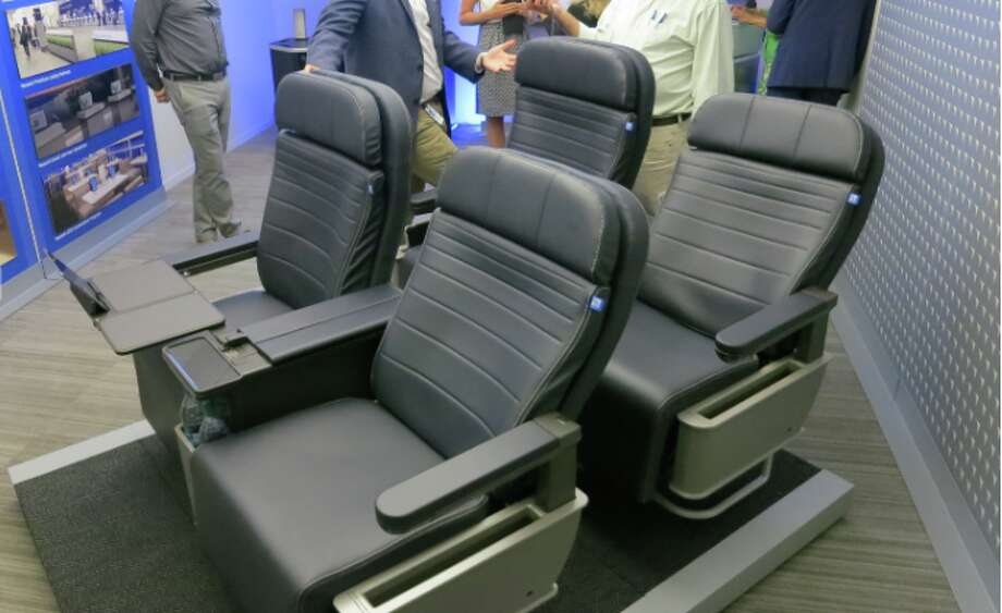 United's new first class seats on display at its Chicago HQ in Dec 2015- currently they are on about 50% of United's narrow body fleet Photo: Chris McGinnis
