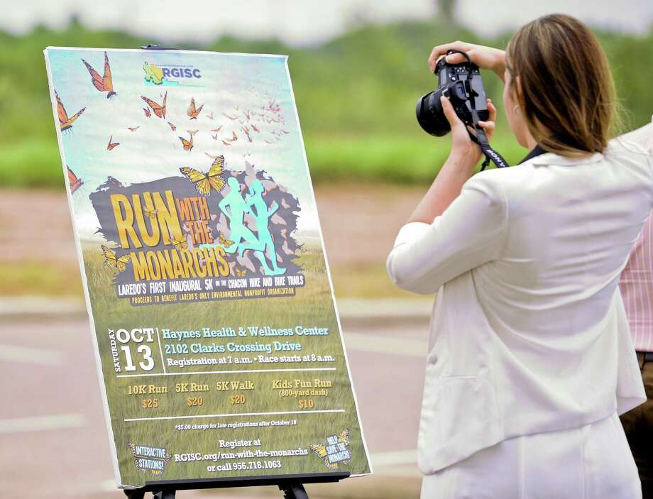 A poster promoting the Run with the Monarchs is displayed during the official announcement of the inaugural event at the Haynes Recreation Center on Thursday, Sept. 27, 2018. Photo: Danny Zaragoza /Laredo Morning Times