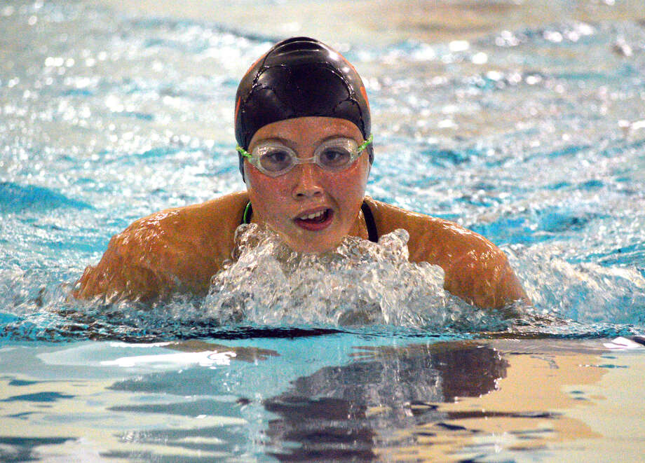 Edwardsville's Rebecca Redman competes in the 100-yard breaststroke during Thursday's dual meet against O'Fallon at Chuck Fruit Aquatic Center. Photo: Scott Marion