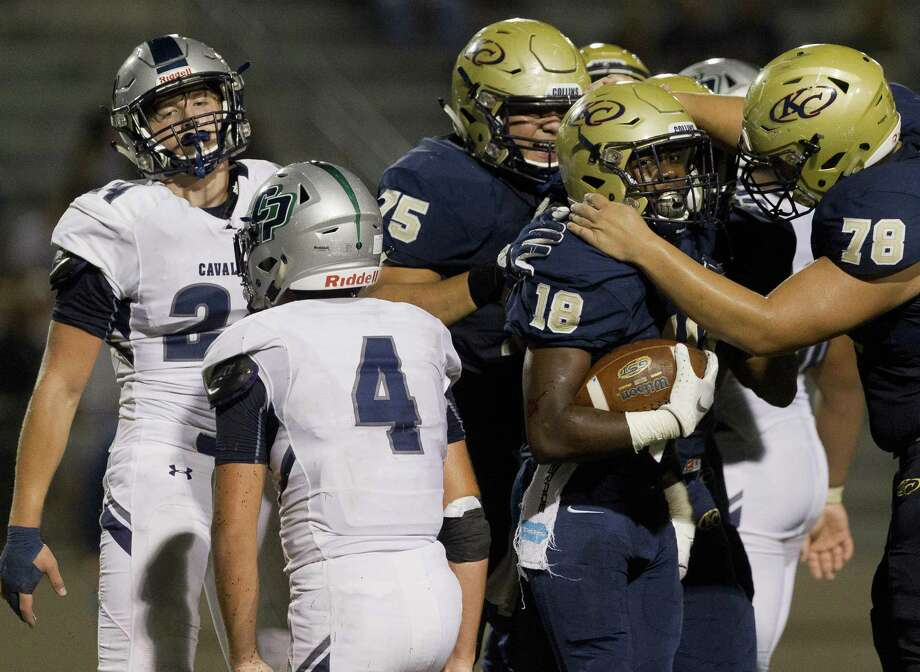 Klein Collins players celebrate after a 2-yard touchdown run by running back Jonathan Lewis (18) during the fourth quarter of a District 15-6A high school football game at Klein Memorial Stadium, Thursday, Sept. 27, 2018, in Spring. Photo: Jason Fochtman, Houston Chronicle / Staff Photographer / © 2018 Houston Chronicle
