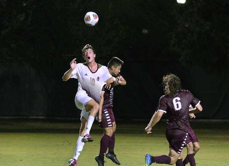 Rafael Montabes gets a header to score for the TAMIU Dustdevils as they played West Texas A& University, Thursday, September 27, 2018 at the TAMIU Soccer Field. Photo: Cuate Santos /Laredo Morning Times / Laredo Morning Times