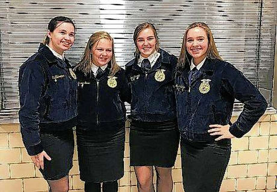 The Pittsfield FFA Ag Sales Team includes Cami Ostrander (from left), Lauren Saxe, Alayna Scranton and Makayla Jennings. Photo: Photo Provided