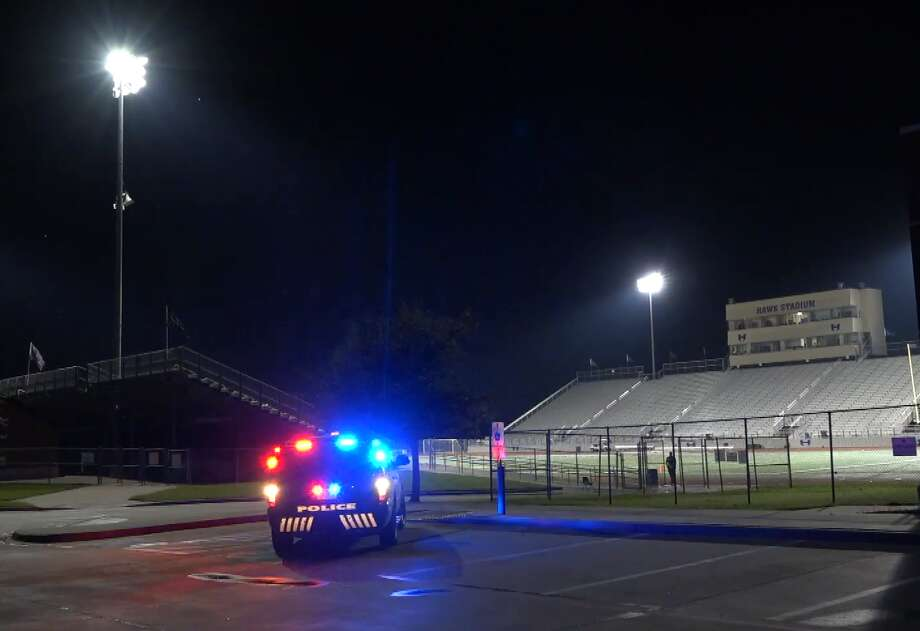 Shots rang out at 8:45pm Thursday during the third quarter of the junior varsity game between Hebron High School and Irving Nimitz in Carrolton. Police say the shooting in the parking lot left one man critical and another arrested. Photo: Metro Video