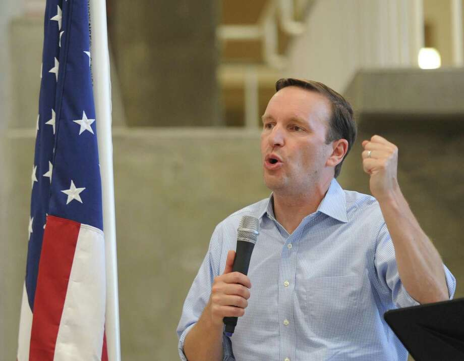 U.S. Sen. Chris Murphy speaks at the Greenwich Democratic Town Committee Cookout and Campaign Rally at Greenwich High School in Greenwich, Conn. Sunday, Sept. 16, 2018. Photo: Tyler Sizemore / Hearst Connecticut Media / Greenwich Time