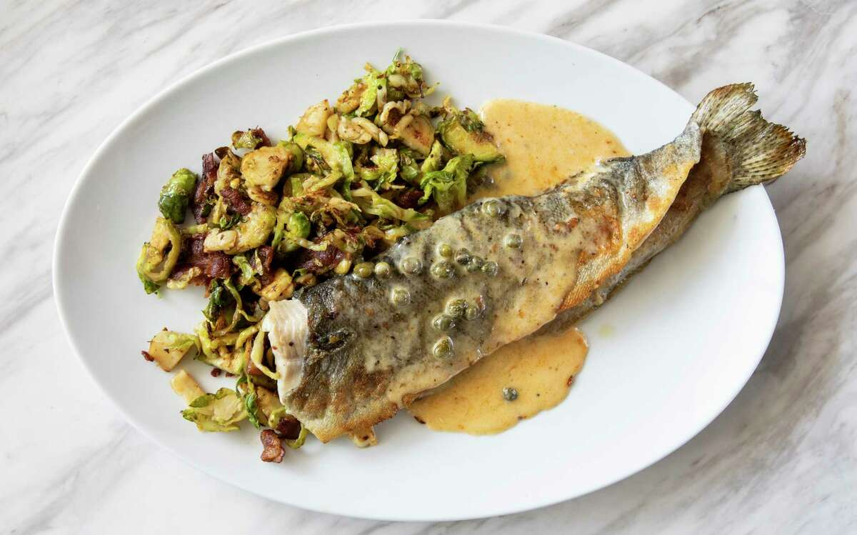 Rainbow trout with caper butter and Brussels sprouts at Jonathan's the Rub, opening its second restaurant at Memorial Green on Oct. 4.