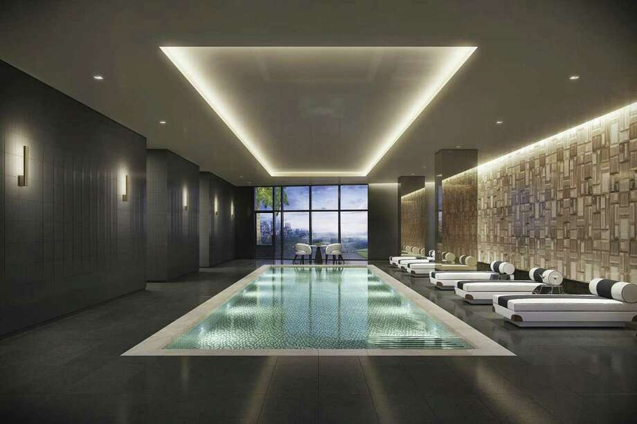 Residents can relax in the upscale indoor pool.