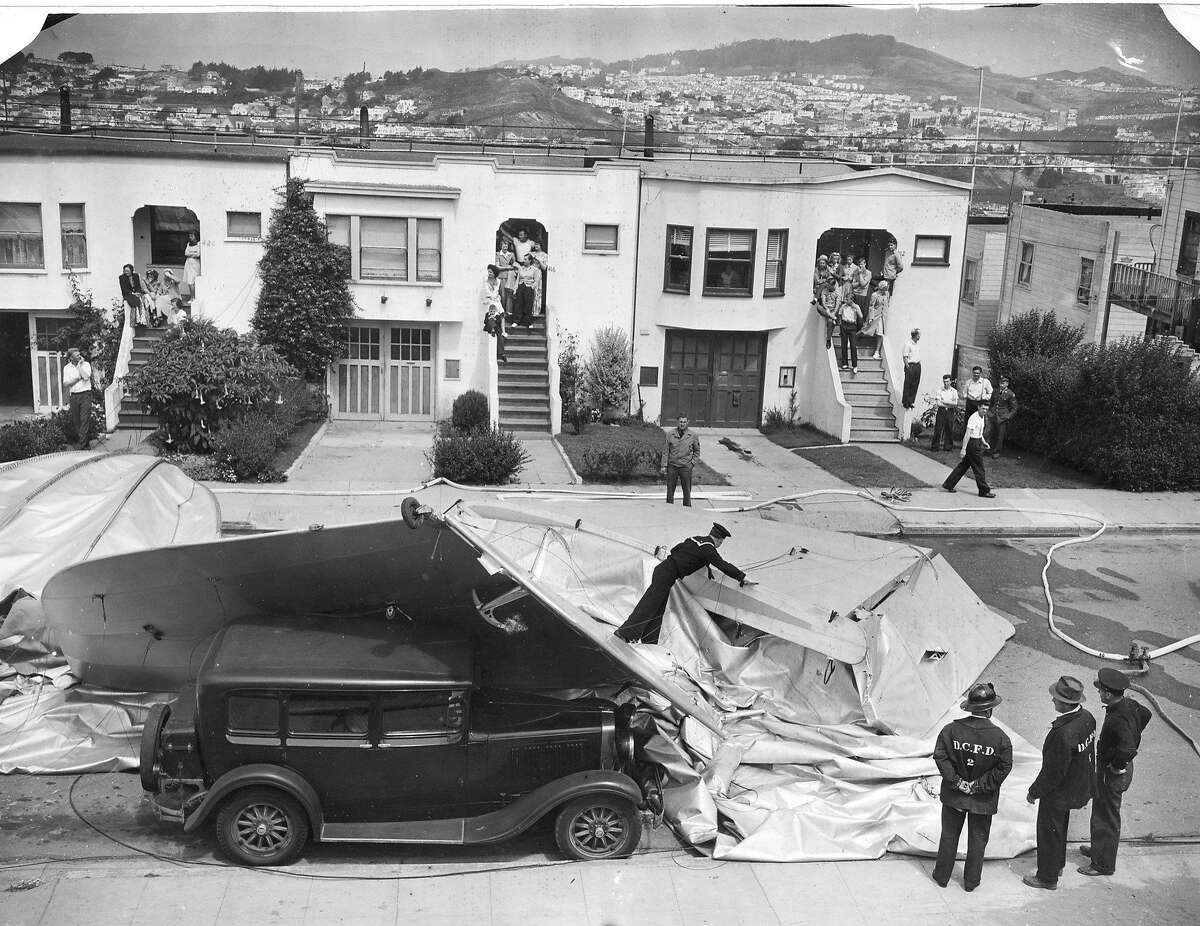 A crewless out of control Navy Patrol Blimp landed in a street in Daly City, August 16, 1942 U.S. Nay photo Photo ran 08/17/1942, P. 3