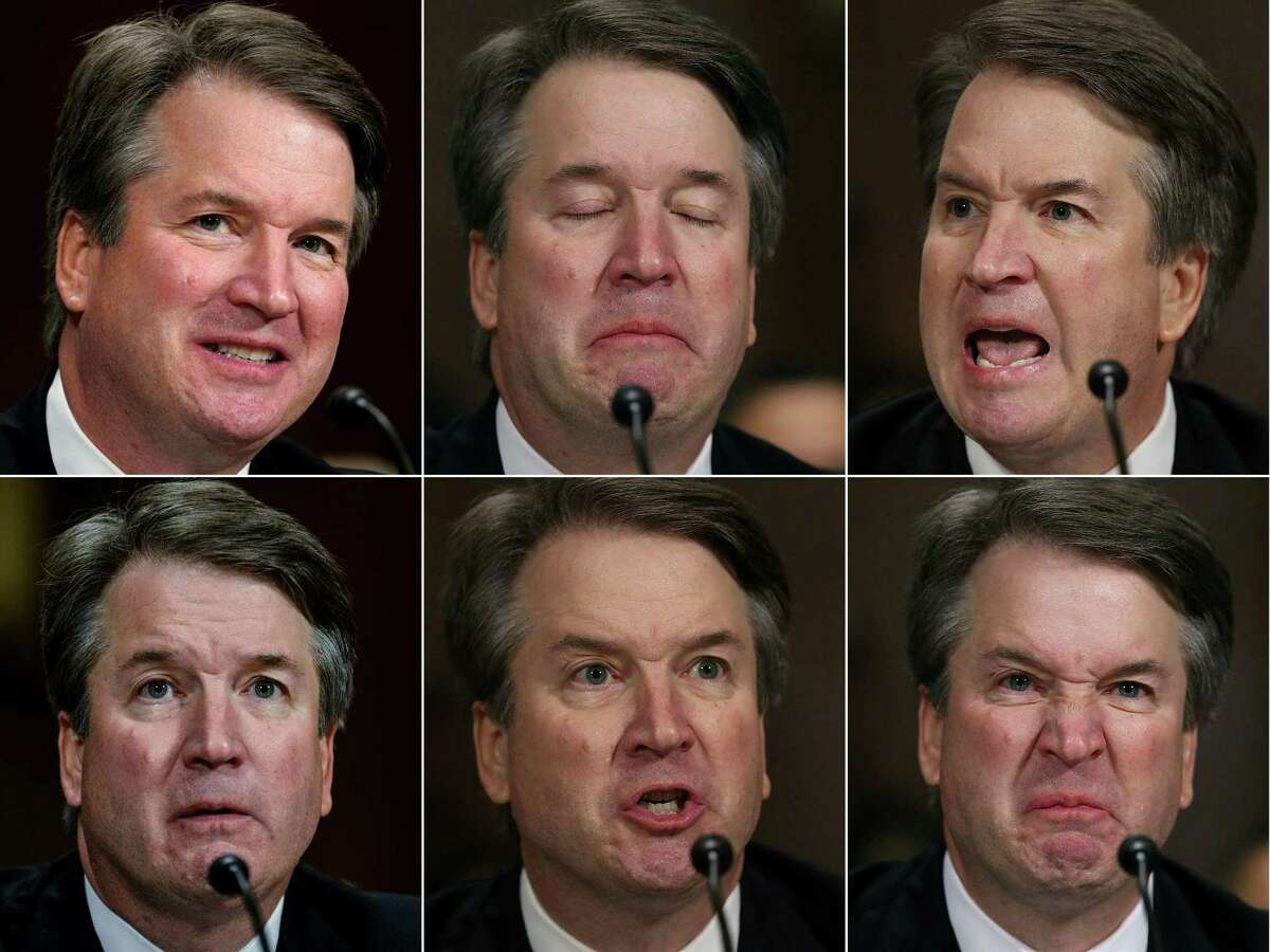 This combination of pictures created on September 27, 2018 shows Supreme court nominee Brett Kavanaugh testifies before the Senate Judiciary Committee on Capitol Hill in Washington on September 27, 2018.