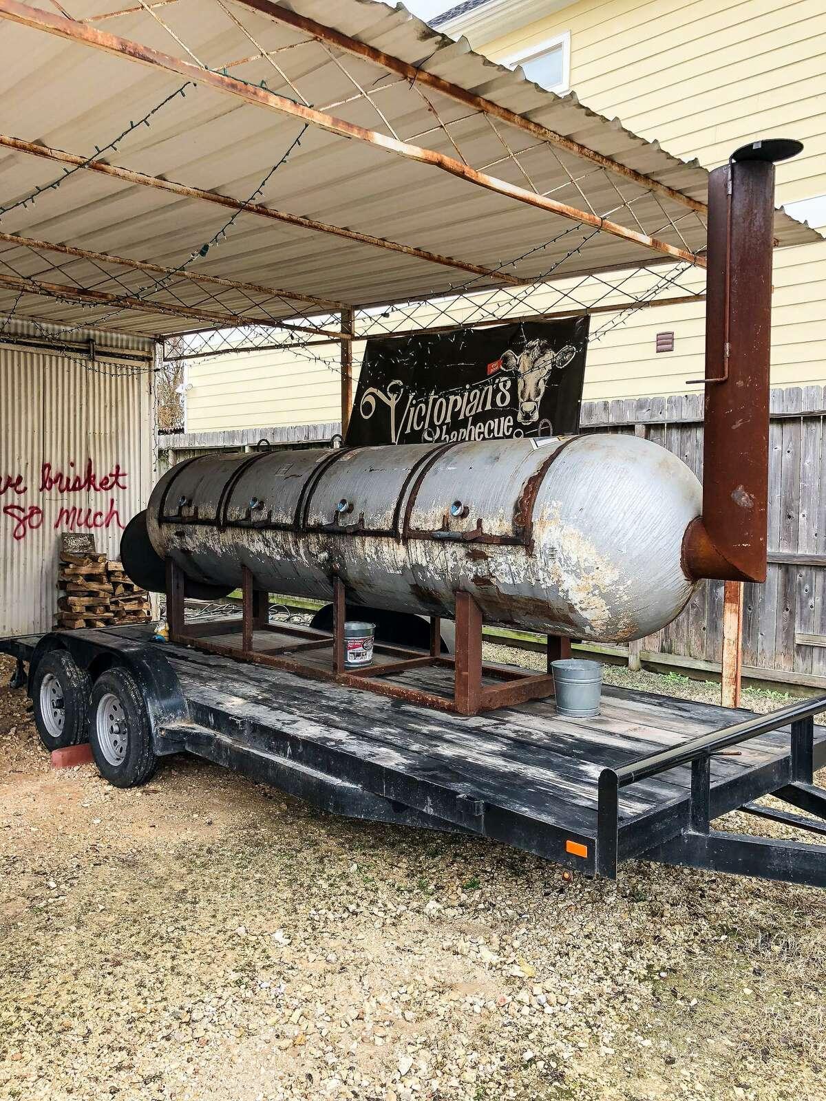 A 1000-gallon, trailer-mounted smoker at Victorian's Barbecue.