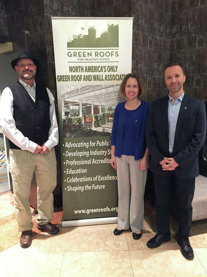 From left, SIUE's Bill Retzlaff, Susan Morgan and Serdar Celik attended the CitiesAlive 16th Annual Green Infrastructure Conference where SIUE was announced as a Living Architecture Regional Center of Excellence. Photo: For The Telegraph