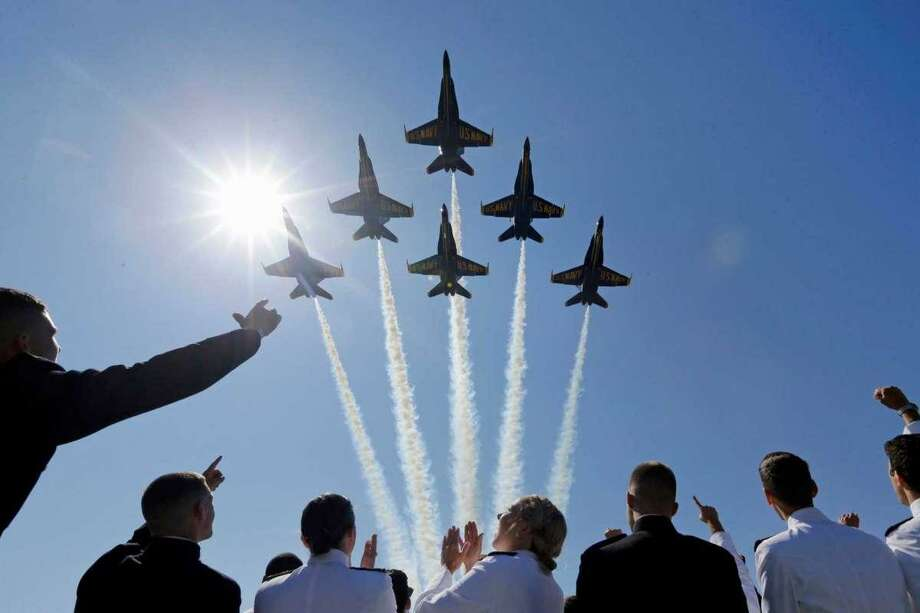 The U.S. Navy Blue Angels flight demonstration team will perform a flyover in Houston on Wednesday, May 6, 2020.