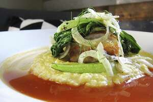 Grouper with grits, tomato broth, bok choy and fennel from Meadow Neighborhood Eatery + Bar.