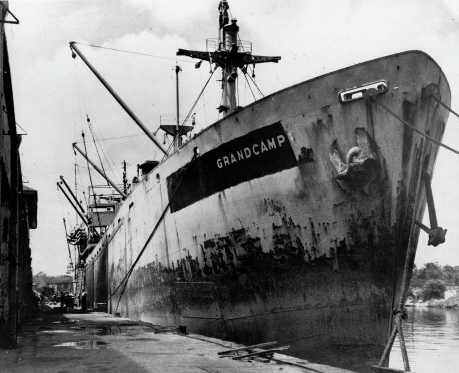 (04/25/1947): THE GRANDCAMP -- Dudley Davis, a freshman student at Schreiner Institute in Kerrville, snapped this copyrighted picture of the Grandcamp as it sat in the Turning Basin in Houston. A few days later the ship exploded in the Texas City harbor and started one of the worst disasters in the history of the nation. Davis, who had just applied for endorsement papers as an engine room helper on a trip to South America next summer, was trying out a new camera when he took the picture. Photo: Dudley Davis / Houston Chronicle Files / Houston Post files