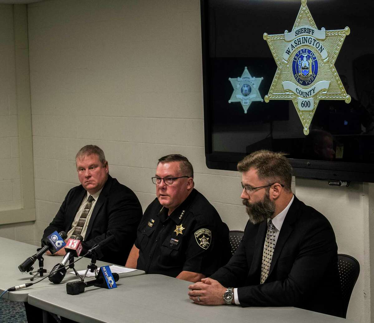 Washington County Court Sheriff Jeff Murphy, middle, speaks during a press briefing regarding the disappearance of Malaya Johnson, 12 of Hudson Falls Friday Sept.28, 2018 in Fort Edward, N.Y. Joining Sheriff Murphy is Chief Scott Gillis of Hudson Falls, left and 1st Assistant DA Christian Morris, right. (Skip Dickstein/Times Union)