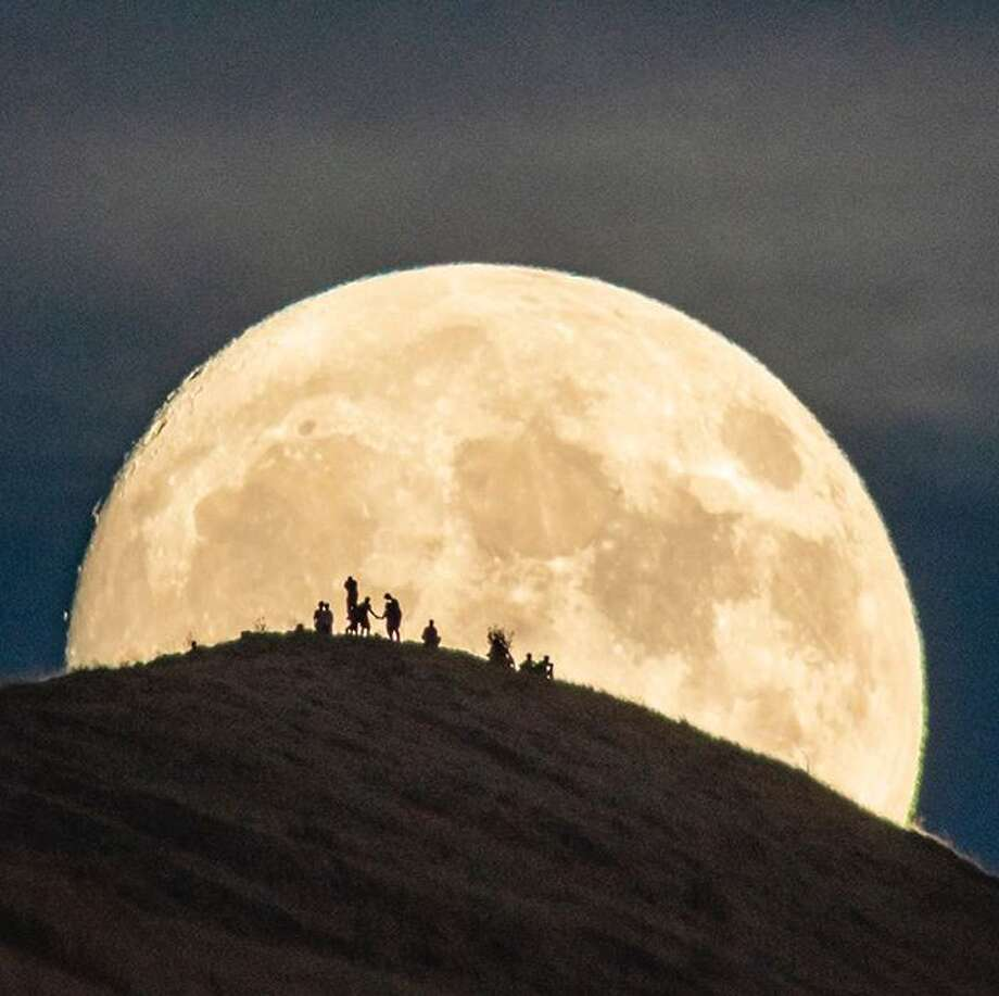 @liewdesign captured this stunning image of a full moon from September over Mission Peak in Fremont. Photo: Instagram / Liewdesign