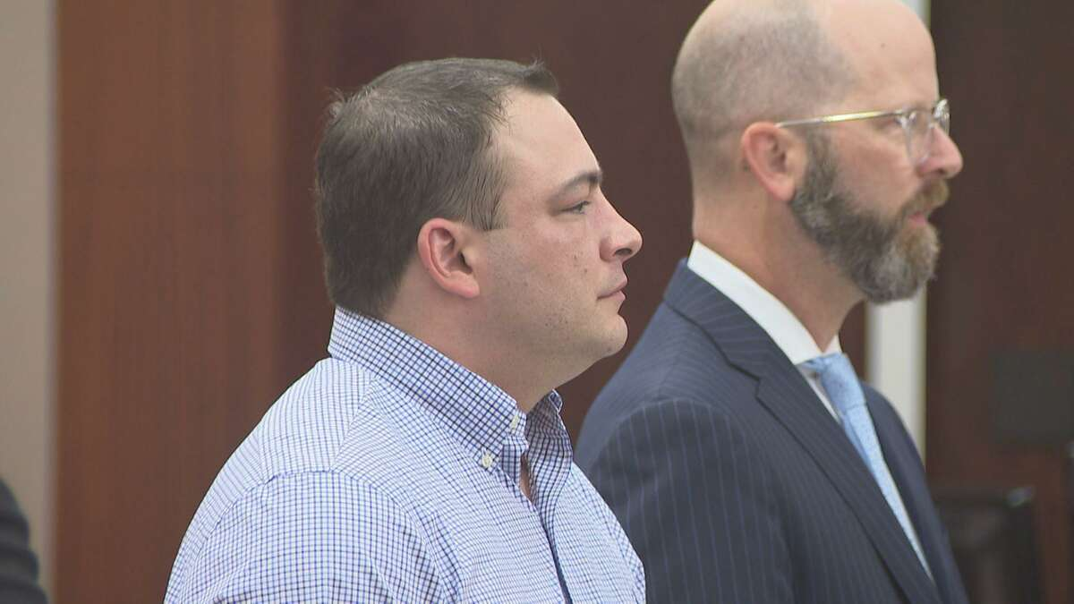 BlaineBoudreaux, 38, (left) with attorney Billy Skinner in a Houston courtroom on Tuesday Sept. 25, 2018. He was charged withfelony murder stemming from a pair of fatal accidents on Wednesday, April 29, 2015, in Houston.Boudreauxis charged with causing the wreck that killed 6-year-old boy Joshua Medrano after running over homeless military veteran, Leonard Batiste, 61,