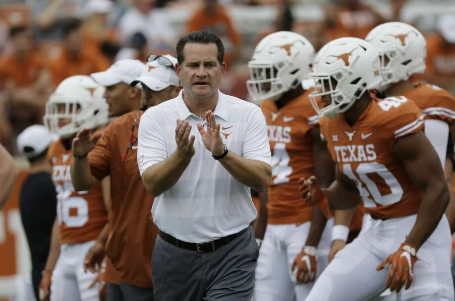 Texas offensive coordinator Tim Beck before an NCAA college football game against TCU, Saturday, Sept. 22, 2018, in Austin, Texas. (AP Photo/Eric Gay) Photo: Eric Gay/Associated Press