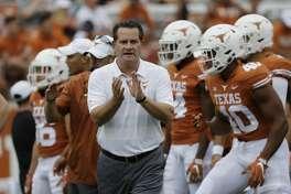 Texas offensive coordinator Tim Beck before an NCAA college football game against TCU, Saturday, Sept. 22, 2018, in Austin, Texas. (AP Photo/Eric Gay)