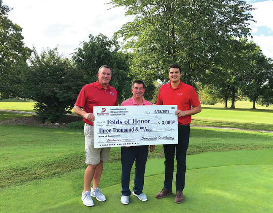 From left are: Larry Funk, Sales Director at Donnewald Distributing; Jon DePriest, PGA Director of Golf Operations at Sunset Hills and Josh Donnewald, Sales Supervisor at Donnewald Distributing. Photo: For The Intelligencer