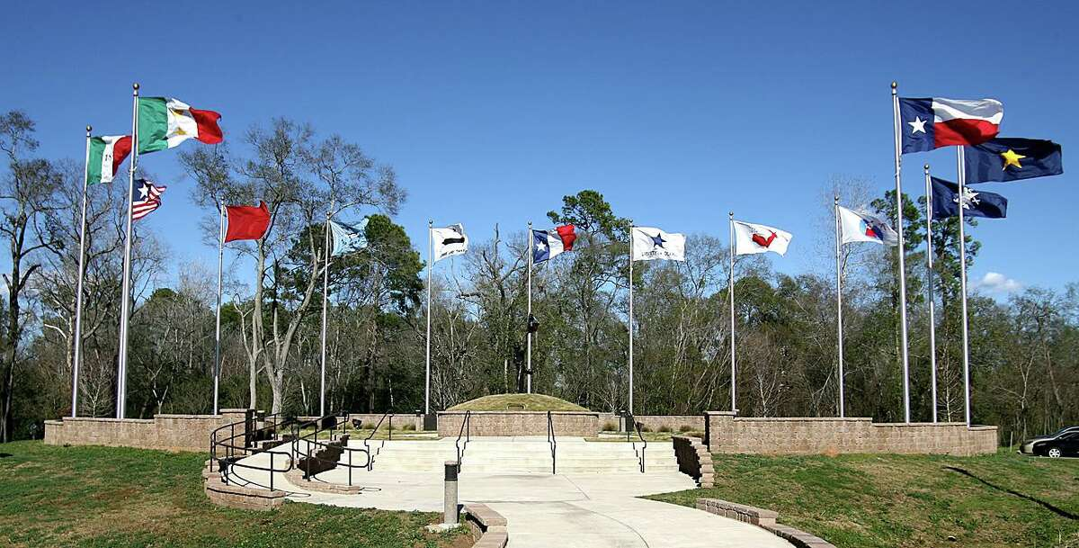 The Lone Star Monument and Historic Flag Park is next to the Central Library in Conroe.