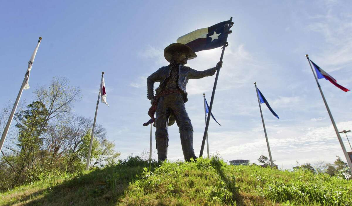 The Texian sculpture is seen at the Texas Flag Park near the Montgomery County Public Library on Texas Independence Day Thursday, March 2, 2017, in Conroe.