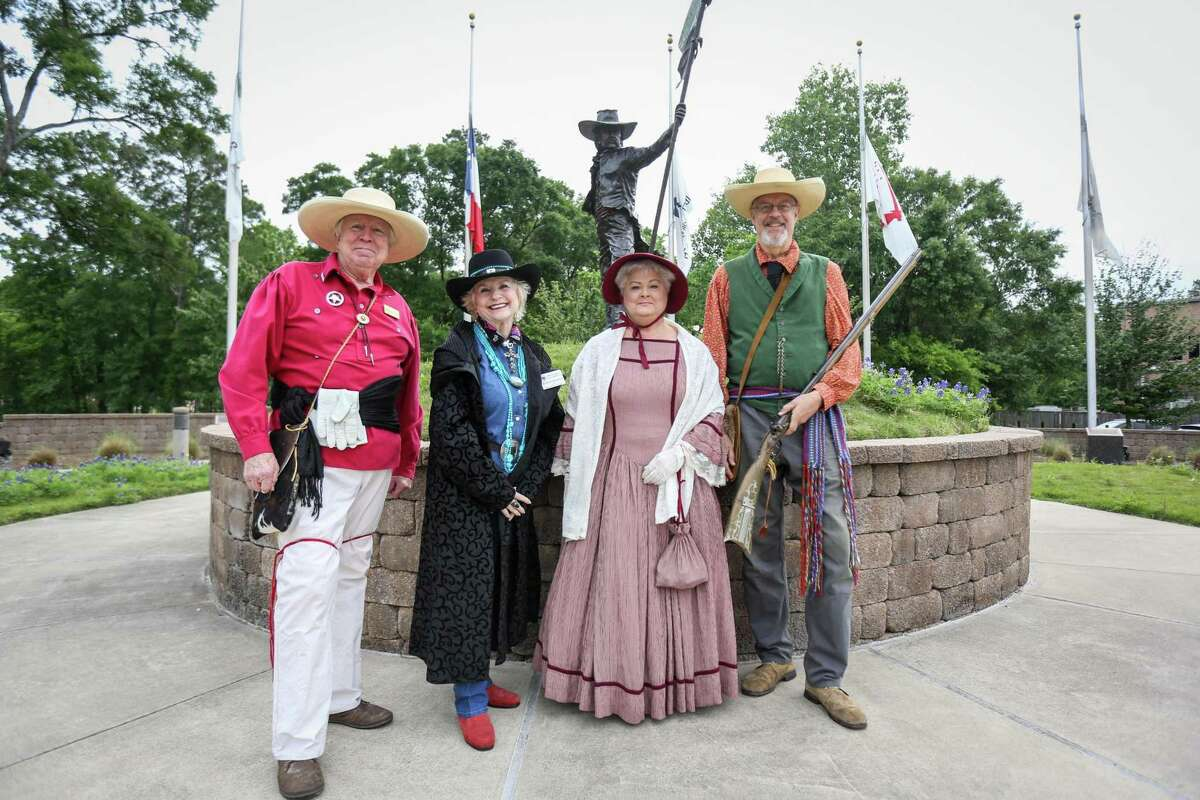 From the left, Doug and Elaine Collings, Eva Rains, and John Meredith are pictured in period dress to commemorate San Jacinto Day on Saturday, April 21, 2018, at the Historical Flag Park in Conroe.