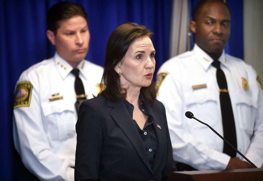 U.S. Attorney Deirdre Daly at an October 2017 press conference in New Haven, Conn. Photo: Arnold Gold / New Haven Register