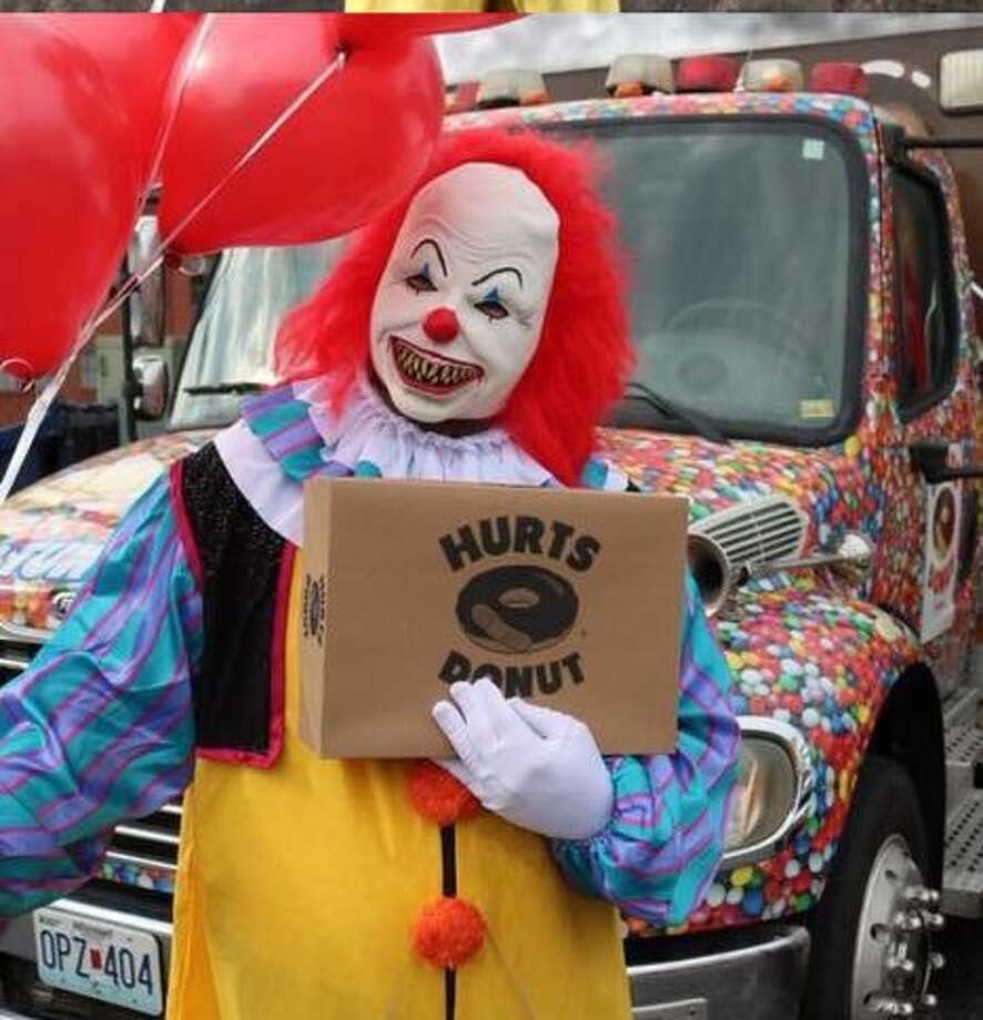Starting Oct. 1 and throughout the entire month, all Hurts Donuts locations nationwide will offer customers the chance to deliver donuts via a scary clown. Photo: Courtesy Hurts Donuts