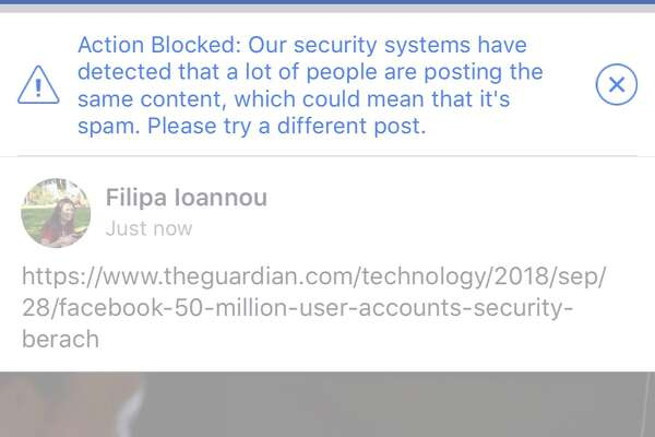 An example of the error message users were shown when they tried to share a story published by the Guardian on Friday.